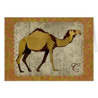 Chocolate Camel Monogram Notecard Note Card