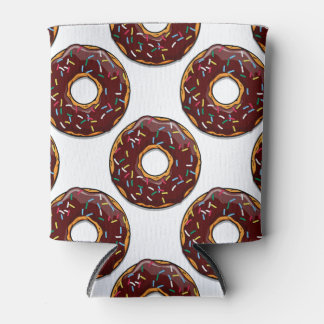 Chocolate Cartoon Donut with Sprinkles Can Cooler