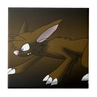 Chocolate Cat Dragon Small Square Tile
