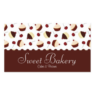 Chocolate Cherry Cupcake Bakery Business Card Templates