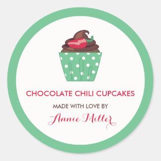 Chocolate Chili Cupcakes Homemade Baking Classic Round Sticker