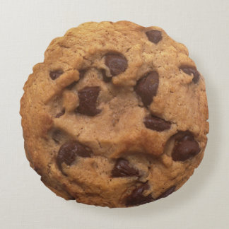 Chocolate Chip Cookie Funny Look Round Cushion
