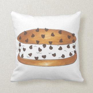 Chocolate Chip Cookie Ice Cream Sandwich Pillow Throw Cushion