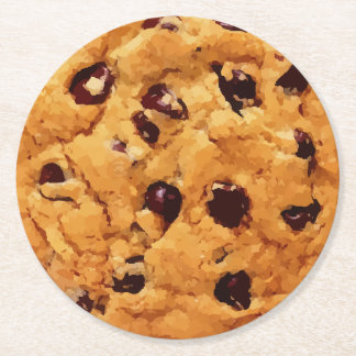 Chocolate Chip Cookie Round Paper Coaster