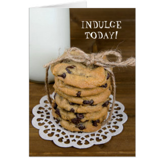 chocolate chip cookies and milk card