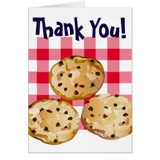 Chocolate Chip Cookies Gingham Picnic Pattern Card