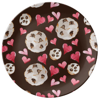 Chocolate chip cookies porcelain plates