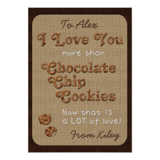 Chocolate Chip Crispy Yummy Cookies Golden Brown Poster