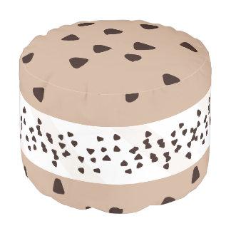 Chocolate Chip Ice Cream Sandwich Pouf Round Pouffe