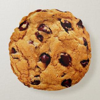 Chocolate chips cookie round cushion