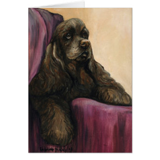 """Chocolate Cocker Spaniel"" Art Greeting Card"