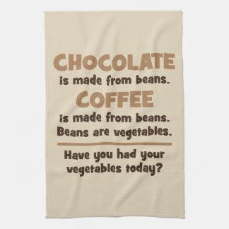 Chocolate, Coffee, Beans, Vegetables - Novelty Tea Towel