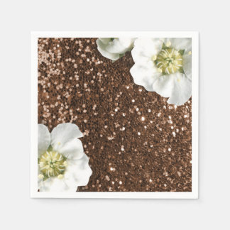 Chocolate Coffee Brown Jasmin Glitter Sequin Disposable Serviettes