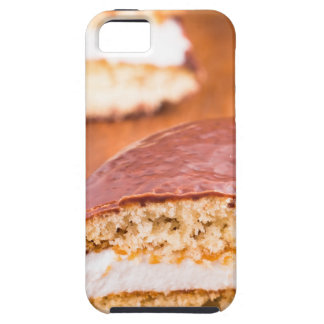 Chocolate cookies with milk souffle on a brown tough iPhone 5 case