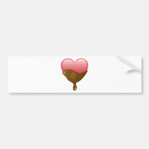 Chocolate Covered Pink Valentine's Day Heart Bumper Stickers