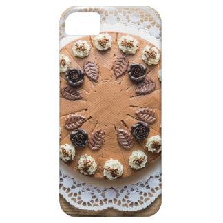 Chocolate cream pie on rustic wood cake top iPhone 5 covers