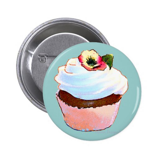 Chocolate Cupcake Pansy on Top 6 Cm Round Badge