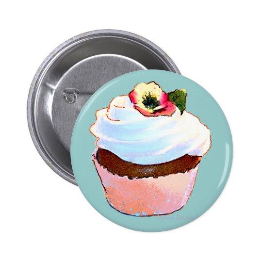 Chocolate Cupcake Pansy on Top 6 Cm Round Badge