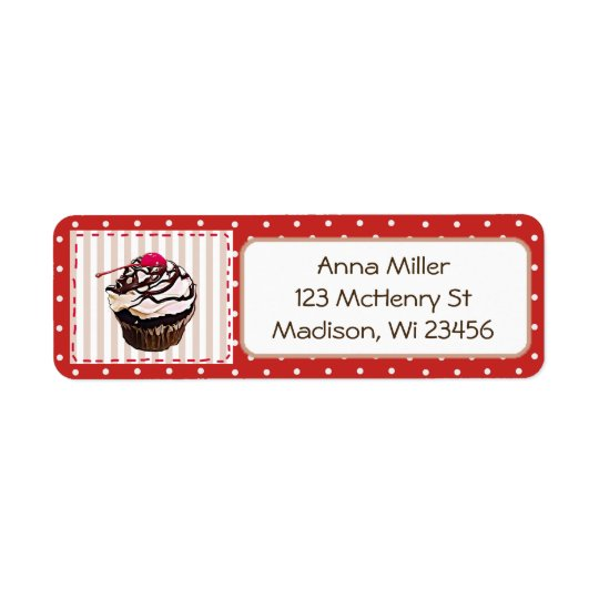 Chocolate Cupcake Red Polka Dot Whimsical Labels