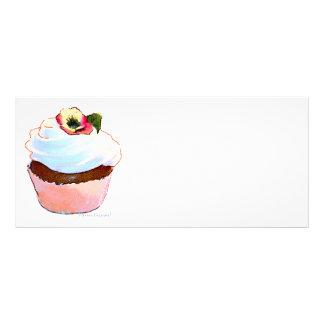 Chocolate Cupcake with Pansy Full Colour Rack Card