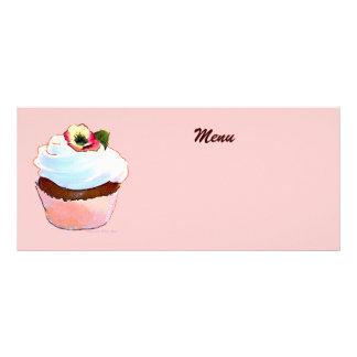Chocolate Cupcake with Pansy Menu 10 Cm X 23 Cm Rack Card