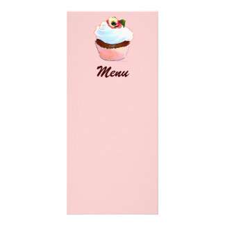 Chocolate Cupcake with Pansy Menu Customized Rack Card