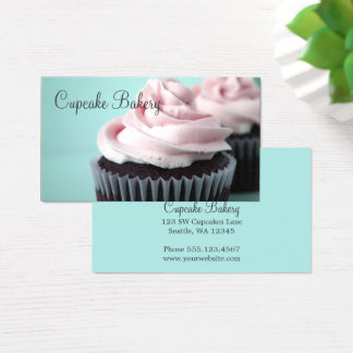 Chocolate Cupcakes Pink Vanilla Frosting Business Card