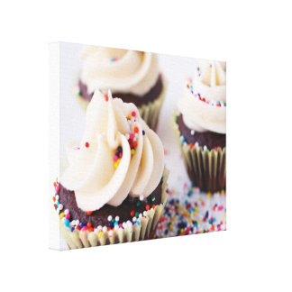 Chocolate Cupcakes Sprinkles Vanilla Frosting Canvas Print