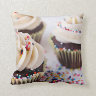 Chocolate Cupcakes Vanilla Frosting Sprinkles Cushion
