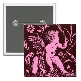 Chocolate cupid with wheat stalk vintage print buttons