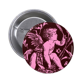 Chocolate cupid with wheat stalk vintage print pinback buttons