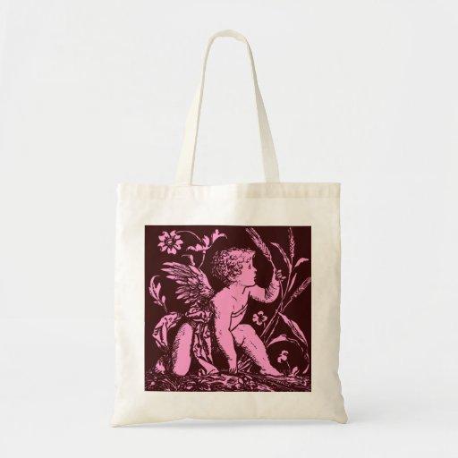 Chocolate cupid with wheat stalk vintage print bags