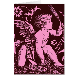 Chocolate cupid with wheat stalk vintage print greeting card