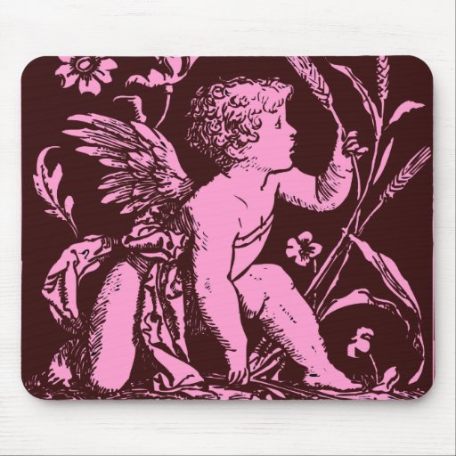 Chocolate cupid with wheat stalk vintage print mouse pads