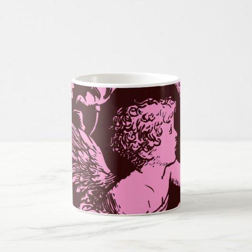Chocolate cupid with wheat stalk vintage print coffee mugs