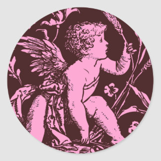 Chocolate cupid with wheat stalk vintage print round sticker