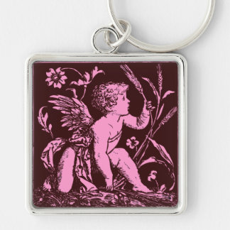 Chocolate cupid with wheat stalk vintage print Silver-Colored square key ring