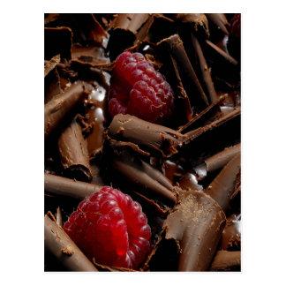Chocolate Curls and Raspberries Postcard