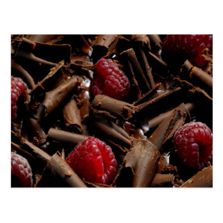 Chocolate Curls and Raspberries Postcard