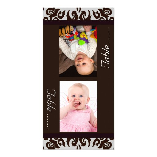 Chocolate Damask  Bride & Groom Photo Table Cards Personalized Photo Card