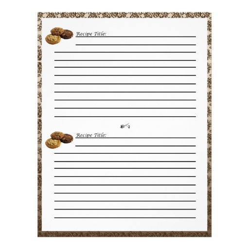 Chocolate Damask Dessert Recipe Cards Personalized Flyer