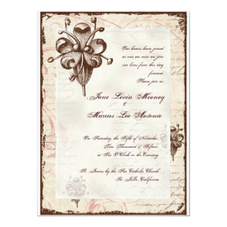 Chocolate Damask Swirl Wedding Card Invite
