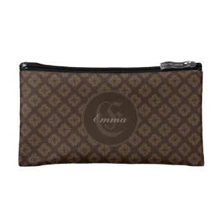 Chocolate Diamonds Print Monogram Cosmetic Bag