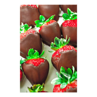 Chocolate Dipped Strawberries Print Stationery