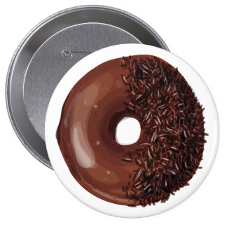 Chocolate Dipped with Chocolate Sprinkles Doughnut 10 Cm Round Badge