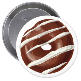 Chocolate Dipped with Vanilla Frosting Doughnut. 10 Cm Round Badge