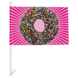 Chocolate Donut with colorful sprinkles Car Flag