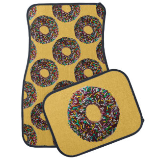 Chocolate Donut with colorful sprinkles Floor Mat