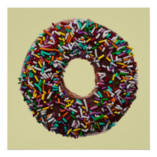 Chocolate Donut with colorful sprinkles Poster