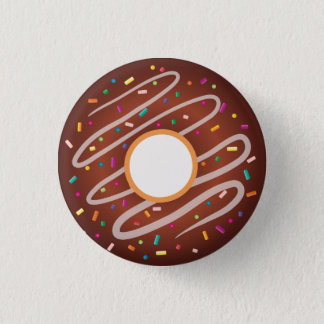 Chocolate Donut with Rainbow Sprinkles 3 Cm Round Badge